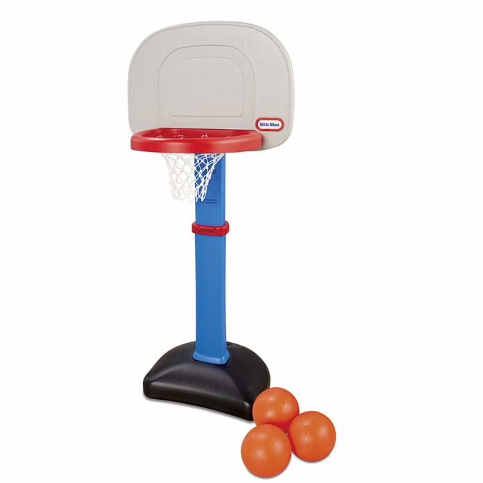 This is an image of a basketball hoop set for little kids.