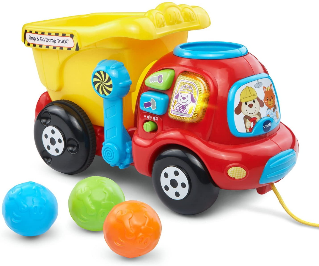 this is an image of a vtech dump truck toy