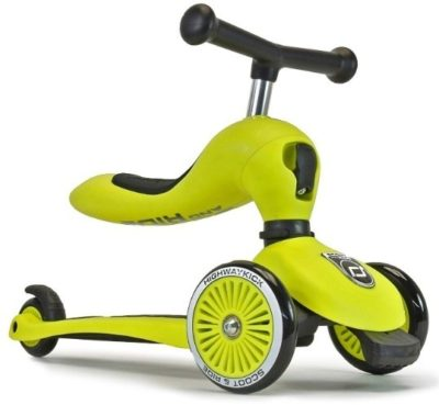 This is an image of kids bike and kick scooter combo 2 in 1 in green color