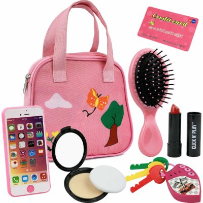 This is an image of girls pretend play purse with 8 pieces toys in pink colors