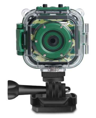 This is an image of a camouflage action camera for kids.