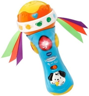 This is an image of baby babble and rattle microphone in blue and orange colors