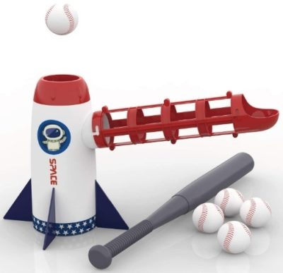 This is an image of kids basball pitching machine toy for backyard in white and red colors