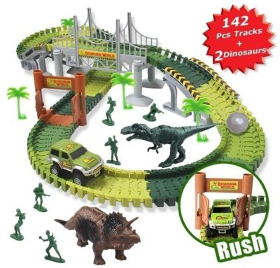 This is an image of kids race car track sets jurassic world in green color