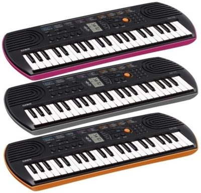 This is an image of kids casio mini keyboard in three colors
