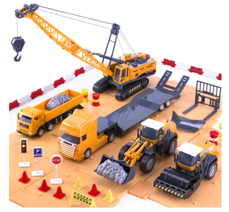 This is an image of a construction site with toy vehicles for kids.