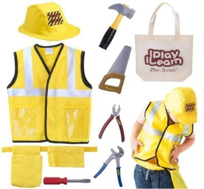 This is an image of kids construction costume play kit set in yellow color