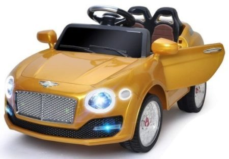 This is an image of kids costzon on car in gold color