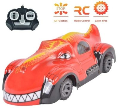 This is an image of toddler RC car in dinosaur design had red color