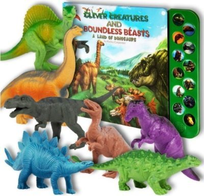 This is an image of kids dinosaur toys set that has 7 different dinosaurs