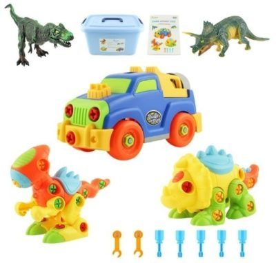 This is an image of kids dinosaurs toys STEM with cars too in multi colors