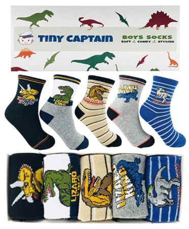 This is an image of a soft and comfy dinosaur socks for kids.