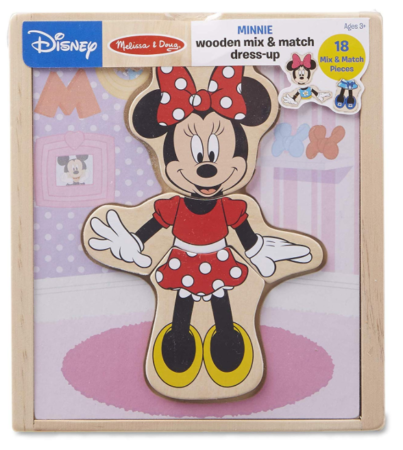 This is an image of a Minnie Mouse wooden play set for kids.
