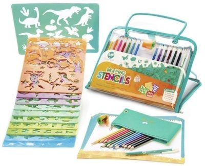 This is an image of kids drawing and colored pincils arts and crafts set