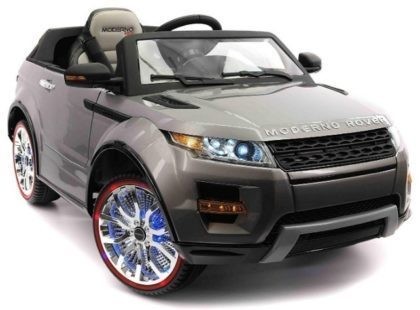 This is an image of electric kids ride on car truck in gray color