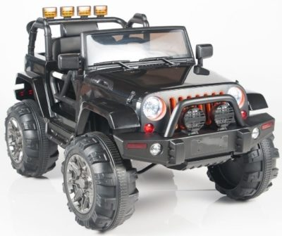 This is an image of kids electric powered rie on truck in black color