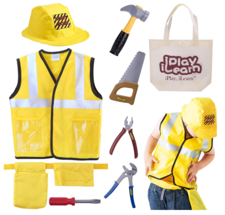 This is an image of a yellow engineer costume with accessories for kids.