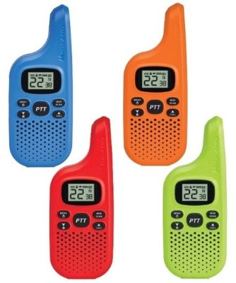 This is an image of kids walkie talkies with 22 channels 4 pack in 4 different colors