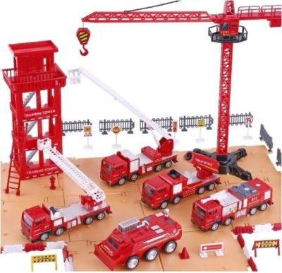 This is an image of kids fire truck play set in red color