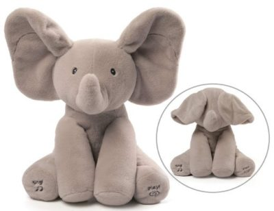 This is an image of baby elephant plush in gray color