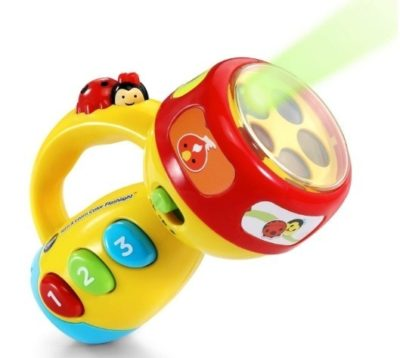 This is an image of baby flashlight toy in yellow colors