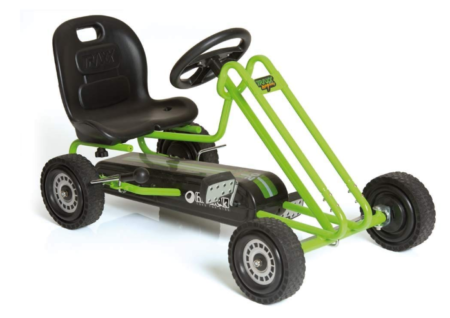 This is an image of a green ride on kart for kids.
