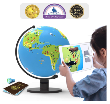 This is an image of a child using the Orboot app to interact with the globe toy.