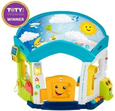 This is an image of baby smart home learning with different toys in colorful colors