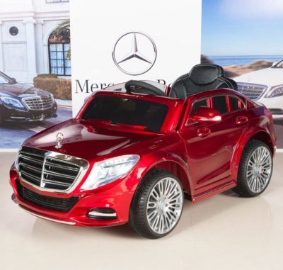 This is an image of kids mercedes benz powered wheels car in red color