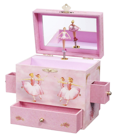 This is an image of a pink ballerina box for kid's jewelries.