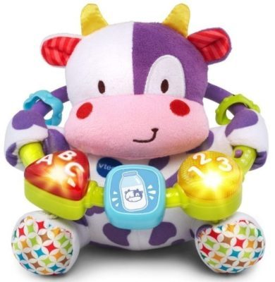 This is an image of baby musical cow plush in white and purple colors