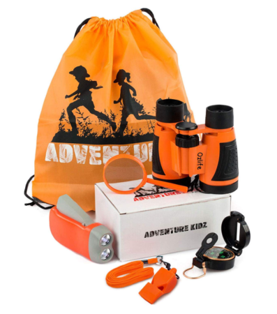 This is an image of an orange adventure kit for kids.