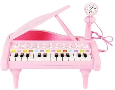 This is an image of baby piano keyboard toy in pink color