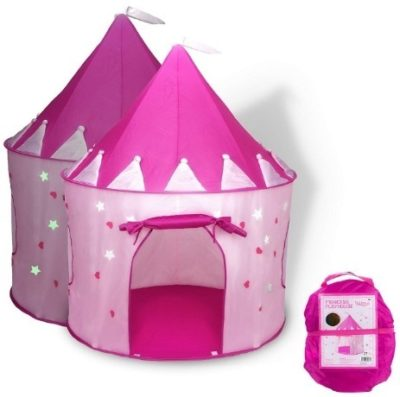 This is an image of girls pink princess catle play tent