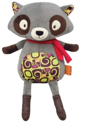 This is an image of baby raccoon plush in gray power
