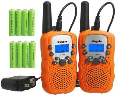 This is an image of kids rechargeable walkie talkies in orange color