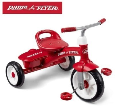 This is an image of kids rider bycle in red color