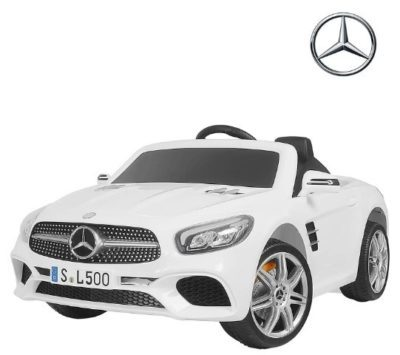 This is an image of kids wheels powered car mercedes benz in white color