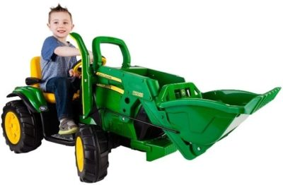 This is an image of kids john deere truck in green color