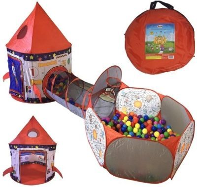 This is an image of baby rocket ship tent in red colors