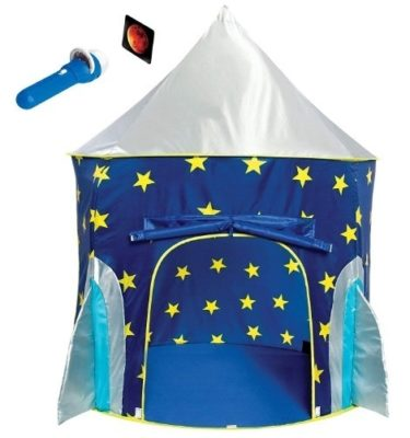 This is an image of kids rocket ship design play tent in blue color