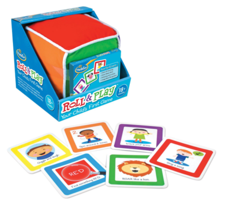This is an image of a toddler's colorful roll and play cube.