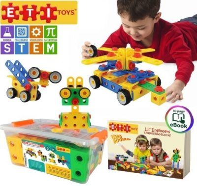 This is an image of kids construction STEM building blocks set with 101 pieces
