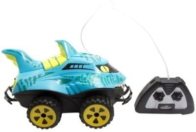 This is an image of toddler shark car with remote control in blue color