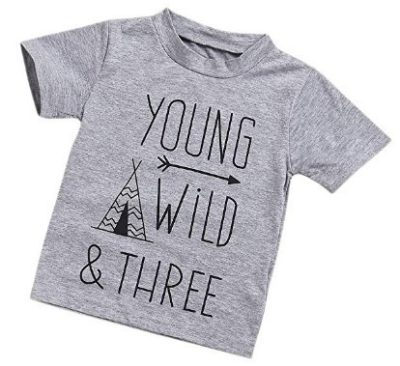 This is an image of kids tree years clothes outfit in grey color