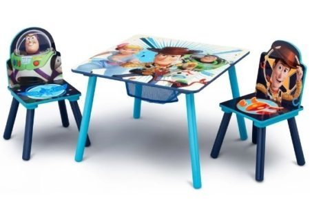 This is an image of kids table with 2 chairs and has toys story 4 design