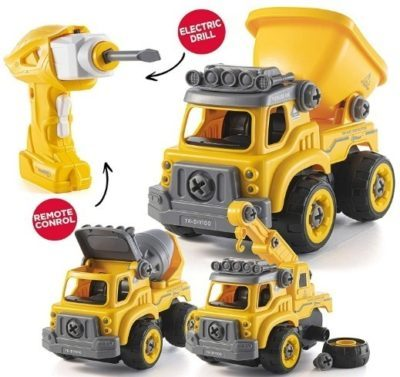 This is an image of kids toys with electric drill in yellow color