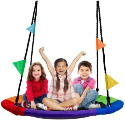 This is an image of a colorful tree swing set with 3 kids sitting on it