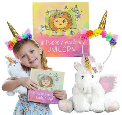 This is an image of baby girl unicorn gift has plush unicorn and book