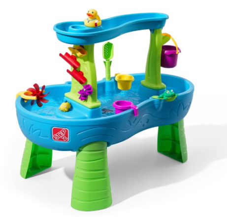 This is an image of a water table with accessories designed for little kids.